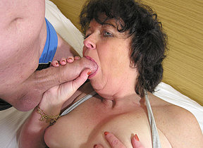 This horny mama loves to get fucked hard by twosome guys