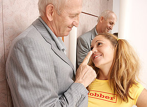 Hot babe doing a brutal old man