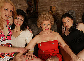 Four horny old and young lesbians make tingle special