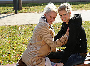 A first old and young lesbian date turns out hot