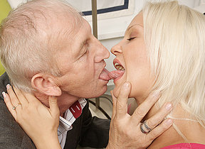 Horny young blonde sucking and fucking old dude