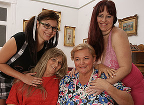 Four horny old with the addition of young lesbians make it special