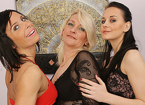 Three superannuated and young lesbians making it wet and wild