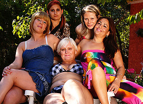 Five old coupled with young lesbians go wet coupled with wild
