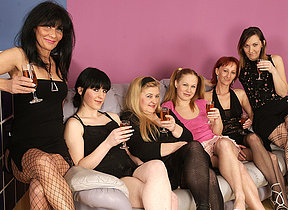 Six old and young lesbians going to town and strip hard