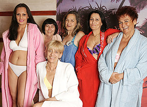 Mature women getting relaxed in an throughout female sauna
