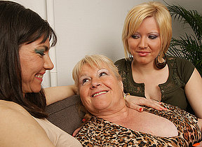 Three horny old and young lesbians enjoy each revision