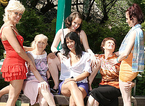 Six horny old plus young lesbians have a dirty wet picnic