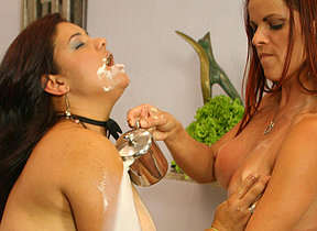 Two kinky mature sluts play with their food