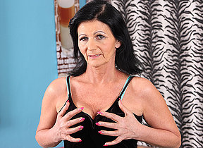 This naughty older mom loves not far from get wet on her couch