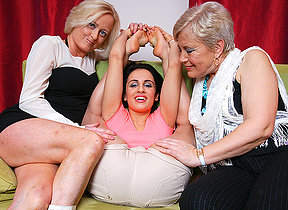 Three elderly plus young lesbians go wild upstairs the couch