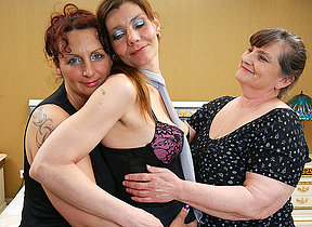 Three lesbian housewives obtain down and dirty