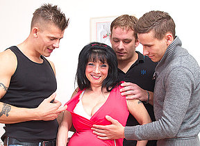 Obese breasted housewife taking on three guys
