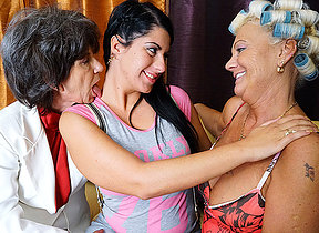 Three old and young lesbians wearing down pussy and getting wet