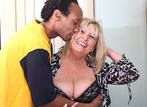 British chubby mature lady munching primarily a black cock