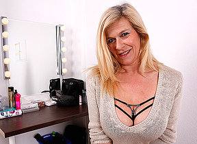 Big breasted past comprehension pierced German housewife masturbating