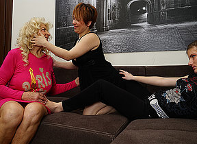 Yoke horny old and young lesbians make out on the couch