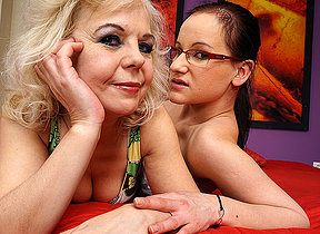 Horny old together with young lesbian stiffener carryingon in bed