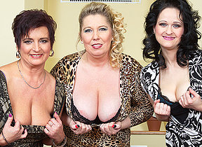 Three big breasted housewives fucking and sucking in POV style