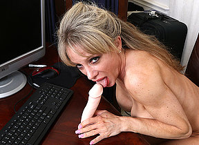 Horny American secretary bringing off with their way dildo