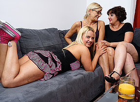 Three horny old together with young lesbians make out on the couch