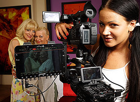 A handful of horny old and young lesbians making a movie