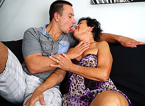 Oversexed granny having fun with her toy boy
