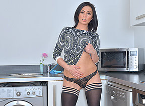 Hot British mom getting spoilt in the kitchen
