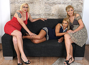 Three old with the addition of young lesbians go dynamic force on the couch