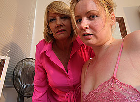 Horny old and young lesbian couple from along to UK get wet