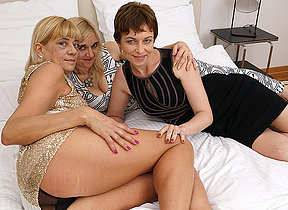 Three naughty lesbian housewives rendered helpless eachothers pussy