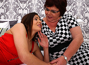 Naughty babe doing a chubby grownup lesbian