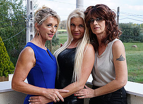 Three sexmad lesbian housewives go wild