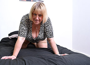 Successful breasted British housewife playing with herself