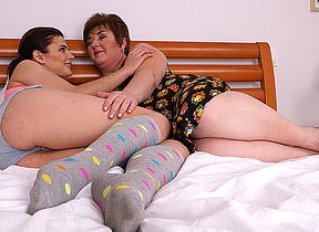 Obese mature lesbian seducing a hot young babe