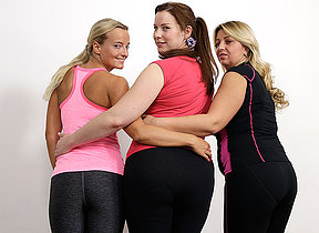 Three bisexual housewives sharing one hard cock at gymclass