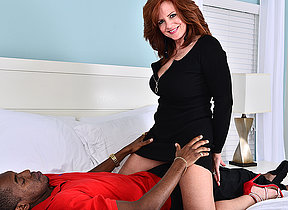 Hot MILF shagging and sucking a big black cock