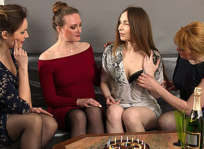 These four housewives go all the uniformly at their party