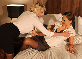 Horny housewife and dispirited mom in hot lesbian encounter