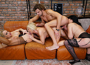 Three older ladies enjoy their stud and each other during hot groupsex