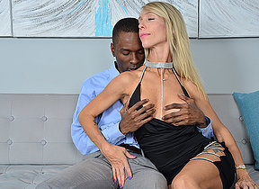 Blonde Milf loves to suck a black cock before her tight pussy gets drilled hard