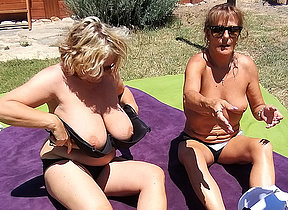 Two British housewives have hot lesbian sex at near their vacation