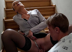 Blistering Milf blows her young stud and takes his big cock deep in her pussy