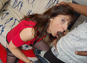 French Milf sucks a big black cock and takes moneyed in her ass and pussy