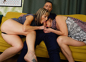 Horny British housewife takes it up the ass in hot threesome with her girlfriend coupled with their stud