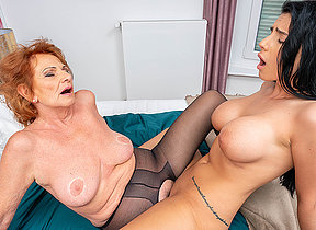 Grandma and busty young girl at a loss for words each others pussies