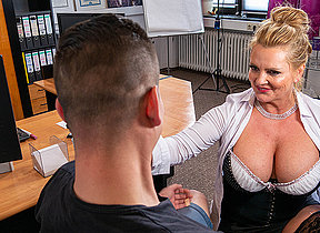 Busty German secretary blows and fucks will not hear of young applicant during job interviewg