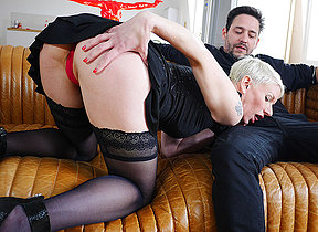 Sexy French Milf sucks a big load of shit with the addition of takes it up her ass