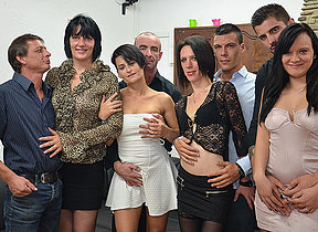 Four horny French ladies fuck their lovers with respect to hot group sex party