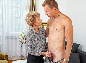 Sexy grandma seduces boy and sucks his cock before he fucks her shaved pussy